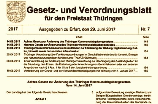 Abgebikdet ist das Deckblatt (Ausschnitt) des GVBl Thüringen Nr. 7/2017 des Freistaats Thüringen - Symbolbild