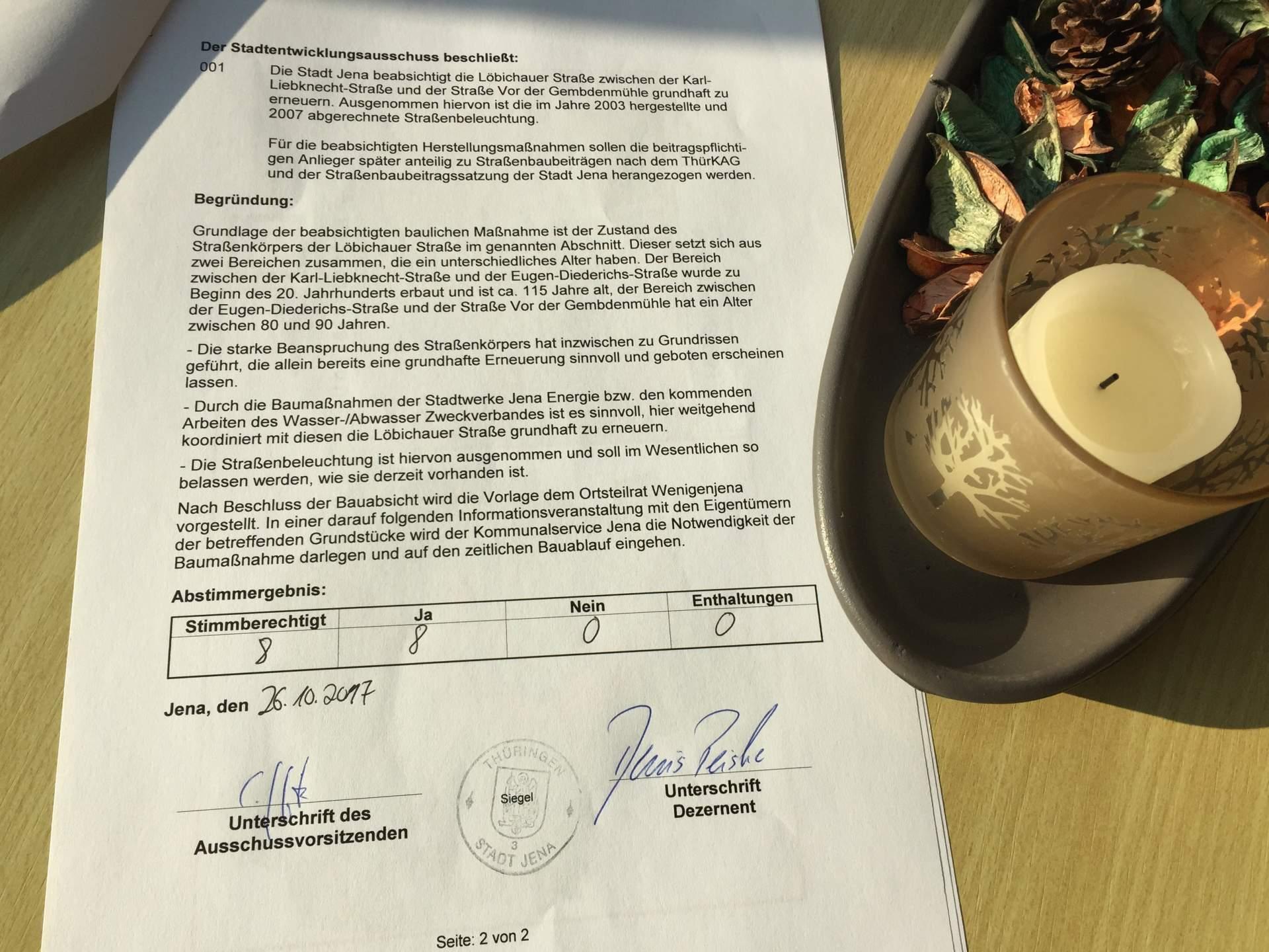 Der unterschriebene Beschluss zur Löbichauer Straße