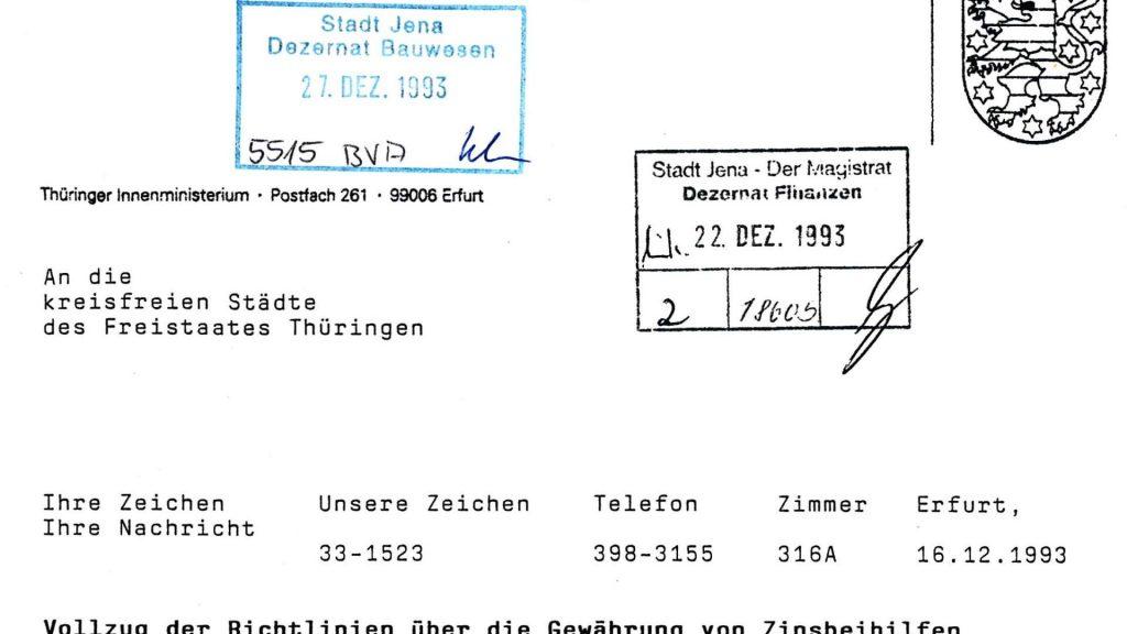 Anschreiben des Thüringer Innenministeriums vom Dezember 1993 zum Vollzug der Zinsbeihilfen. - Teaser © KSJ