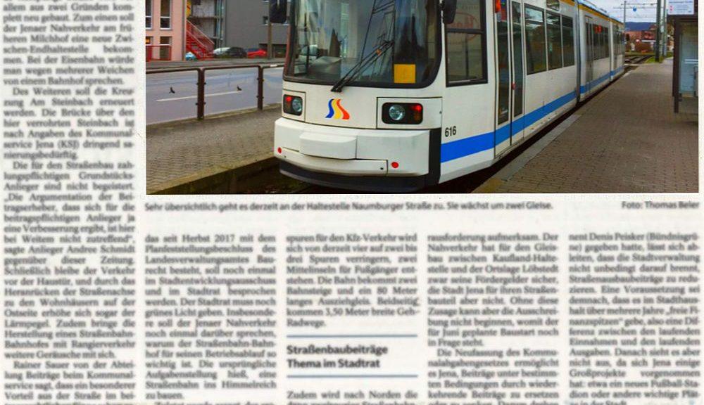 TLZ Artikel zur Naumburger Straße vom 12.01.2018 der Mediengruppe Thüringen
