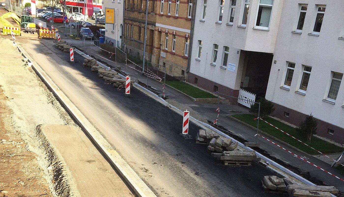 Blick auf eine Straßenbaustelle