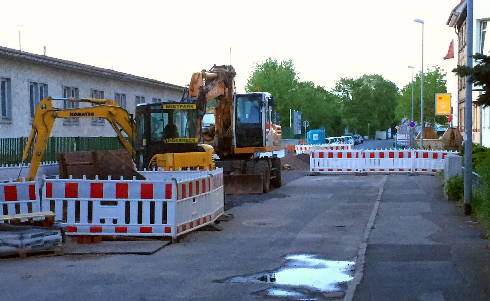 Straßenbaustelle in Jena