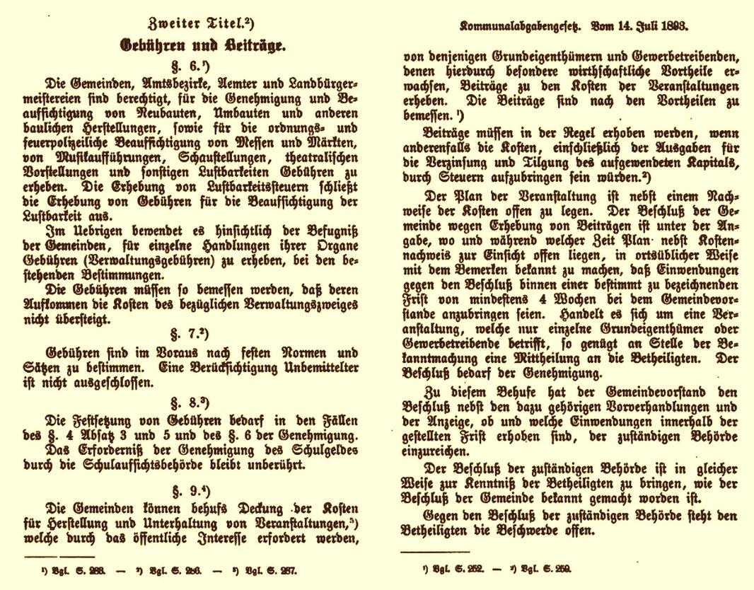 """Ausschnitt aus dem Preußischen Kommunalabgabengesetz von 1893: """"Gebühren und Beiträge"""""""
