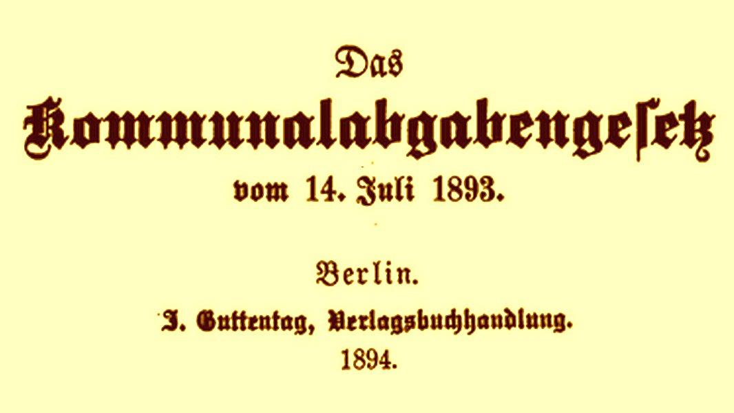 Das Preußische Kommunalabgabengesetz von 1893 - Symbolbild