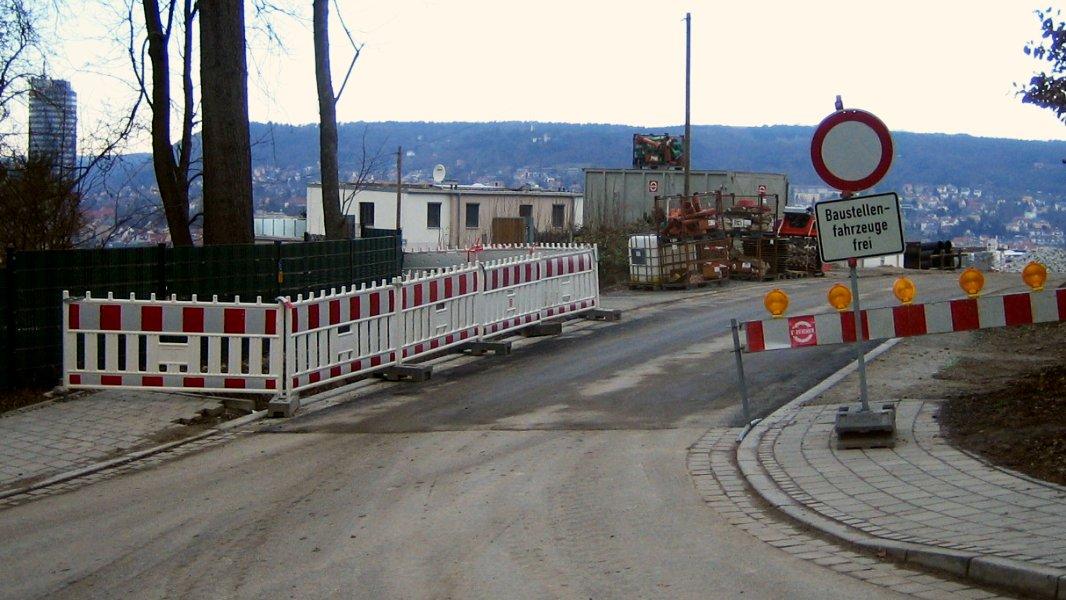 Straßenbaustelle am Burgweg