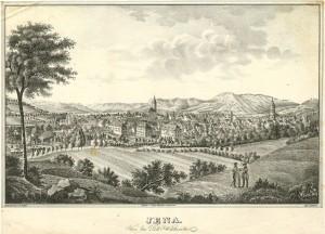 Stadtansicht Jena von Südwesten 1850 Lithografie von J.G.C.Lange