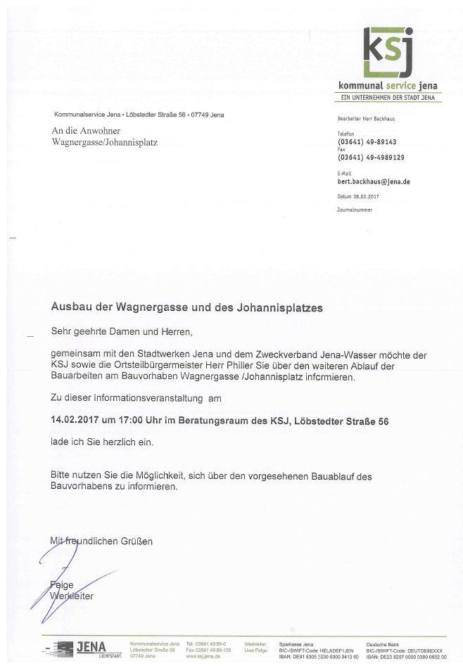 Schriftliche Einladung des KSJ zur Informationsveranstaltung Wagnergasse am 14.02.2017